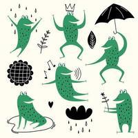 rane simpatico cartone animato. set vettoriale animale di disegno rospo anfibio, illustrazione raccolta rana verde rane, pioggia, fiori e cielo. adorabili animali in stile scandinavo. concetto per la stampa di bambini