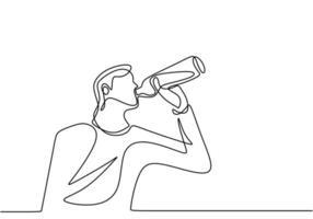 disegno continuo di una linea, vettore di uomo che beve acqua dalla bottiglia di plastica o dal bicchiere. design minimalista con semplicità disegnato a mano isolato su sfondo bianco.