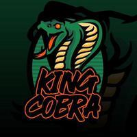illustrazione della testa di re cobra per t-shirt, emblema del cobra della carta da parati. illustrazione di re cobra isolato su sfondo verde scuro. vettore