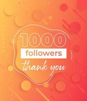 1000 follower, banner per i social network vettore