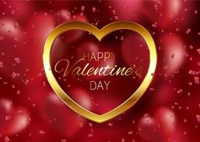 sfondo di San Valentino con cuore d'oro vettore
