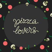 Vettore libero di tipografia dell'amante della pizza dell'iscrizione della mano