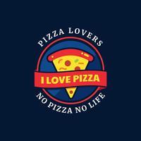Distintivo di tipografia amanti della pizza vettore