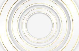 cerchi bianchi di lusso con bordi dorati vettore