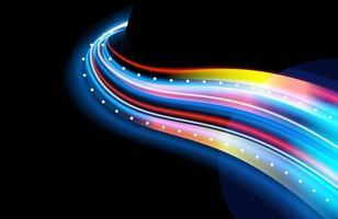 sentieri di luce al neon colorati con effetto motion blur vettore
