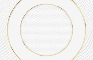 design bianco elegante di lusso con bordi del cerchio d'oro vettore