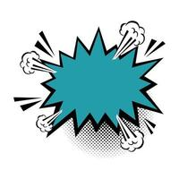 icona di stile pop art colore blu esplosione
