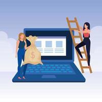 giovani donne con laptop e soldi