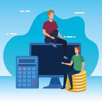 giovani uomini con desktop e soldi