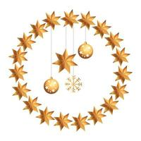 palle di natale con stella e fiocco di neve appesi in una cornice di stelle