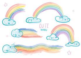 Illustrazione sveglia di vettore dell'arcobaleno dell'acquerello della nuvola