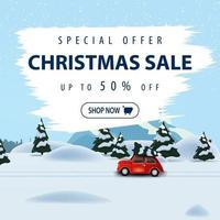 offerta speciale, saldi natalizi, fino a 50 di sconto, bellissimo striscione quadrato con sconto con paesaggio invernale sullo sfondo e auto d'epoca rossa con albero di natale vettore