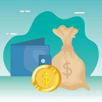 monete soldi dollari con portafoglio vettore
