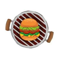 forno barbecue con hamburger icona isolato vettore