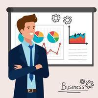 uomo d'affari elegante con presentazione infografica vettore