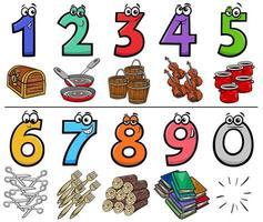 raccolta di numeri di cartoni animati educativi con oggetti vettore