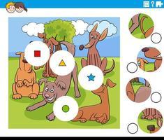 abbina pezzi di puzzle con personaggi di cani divertenti vettore
