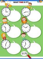 raccontare tempo compito educativo con bambini felici vettore