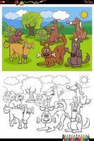Cartoon cani felici gruppo libro da colorare pagina vettore