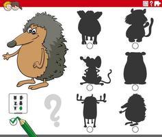 compito di ombre con personaggi animali dei cartoni animati vettore