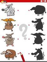 gioco educativo delle ombre con personaggi animali vettore