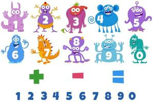 numeri impostati con personaggi dei mostri dei cartoni animati vettore
