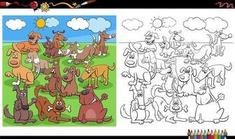Cani divertenti caratteri gruppo pagina del libro da colorare vettore