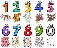 numeri di cartoni animati educativi con personaggi di animali da fattoria vettore