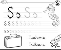 impara a scrivere la cartella di lavoro della lettera s per i bambini vettore