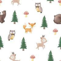 Seamless pattern di graziosi animali nel bosco con stile acquerello vettore