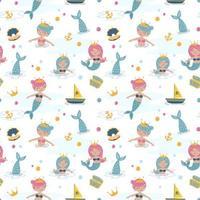 seamless pattern bambino con il concetto di sirena vettore