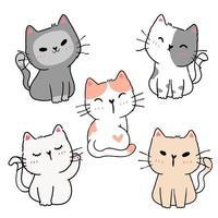 set di gattini giocosi simpatico cartone animato vettore