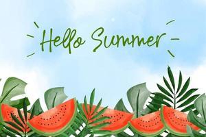 sfondo acquerello floreale con il concetto di estate vettore