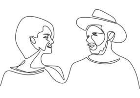 disegno in linea continua. coppia romantica. vecchio uomo e donna. amanti tema concept design. minimalismo disegnato a mano. metafora di amore illustrazione vettoriale, isolato su sfondo bianco. vettore