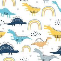 modello senza cuciture di dinosauro infantile per vestiti di moda, tessuto, magliette. disegnato a mano. illustrazione vettoriale per stampa tessile per neonati e bambini, stile scandinavo.