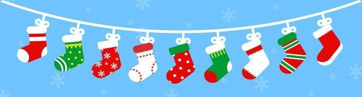 calze natalizie carine su una stringa vettore
