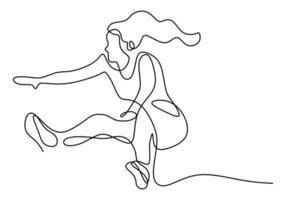 disegno linea continua di atleta salto in lungo. giovane atleta energico esercizio per atterrare sulla piscina di sabbia dopo aver saltato illustrazione vettoriale, stile minimalista vettore