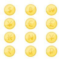 set di icone di simbolo di valuta moneta vettore