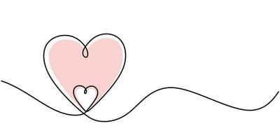 linea continua che disegna due cuori. simbolo di amore minimalismo. una linea disegnare illustrazione vettoriale. buono per biglietto di auguri di San Valentino vettore
