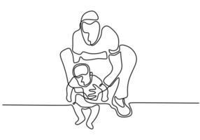 continuo singolo disegnato una linea padre che tiene bambino. il padre insegna al bambino a camminare. prendersi cura di suo figlio. stile minimalista del concetto di tempo della famiglia. vettore