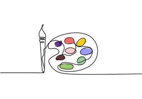 tavolozza con colori e pennelli, disegno continuo di una linea. illustrazione vettoriale design minimalista.