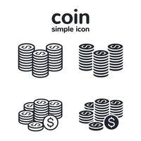 pila di monete icon set vettore