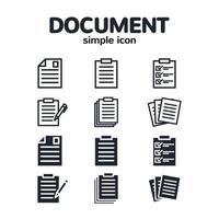 set di icone di documenti semplici vettore