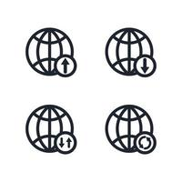 set di icone del globo, set di icone di connessione internet world wide web vettore