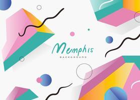 Gradiente piano astratto di Memphis Pattern Background Vector
