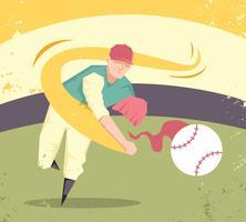 Vettore d'annata dell'illustrazione del giocatore di baseball astratto