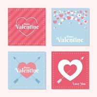 Insieme del modello della carta di amore di San Valentino