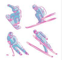 Illustrazione disegnata a mano olimpica di vettore di simbolo degli sport invernali