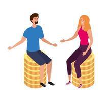 giovane coppia seduta in mucchio monete icona isolato