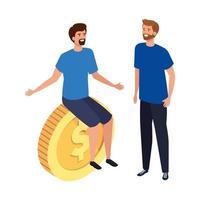 giovani uomini con icona isolata di moneta